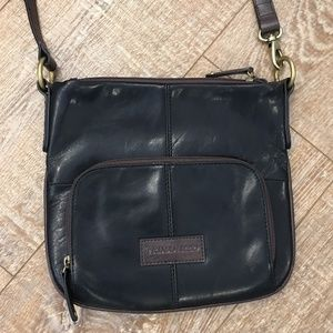 Tignanello Black Brown Leather Crossbody Handbag